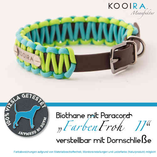 Biothane-Paracord-Hundehalsband FARBENFROH II